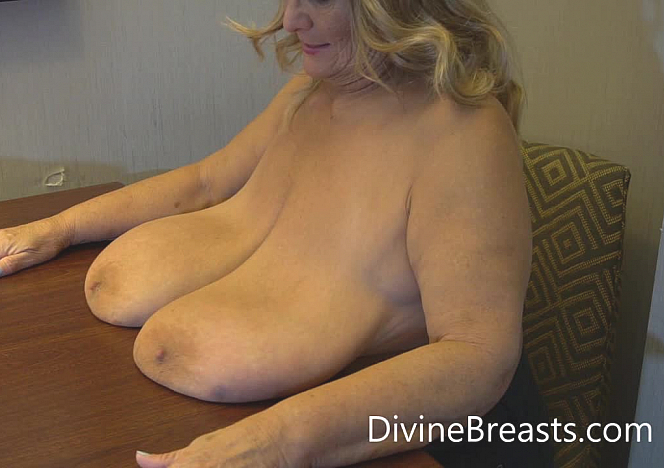 DivineBreasts Sarah Giant Tits on the Table