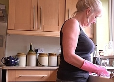 Auntjudys Auntie Louise Masturbates For You in the Kitchen
