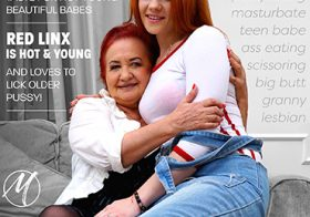 MATURE NL update   13549 big hairy granny licking a hot young red haired teeny babe