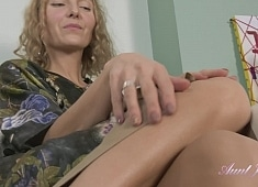 Auntjudys Irena Knitting and Shaved Pussy Play