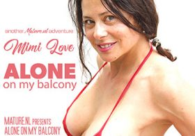 MATURE NL update   13723 big nipple milf mimi love is getting very shameless on her balcony under the sun