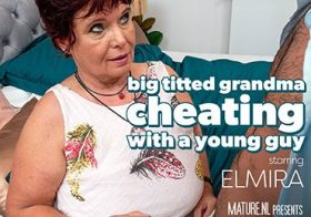 MATURE NL Big breasted granny cheating with a young guy