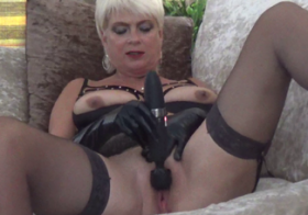 MydirtyHobby Playing with my toy in leather lingerie dimonty
