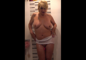 MydirtyHobby Shower in T-Shirt, Heels with a vibrating ball in pussy. dimonty