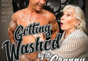 MATURE NL Granny next door is washing up her muscled younger friend