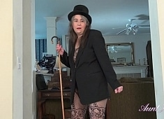 Auntjudys Grace Puts on a Show in Lacy Full Body Lingerie
